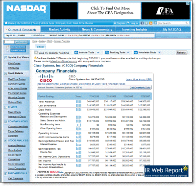 EDGAR Online XBRL data on Nasdaq.com