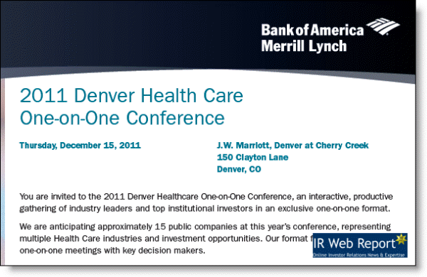 Denver Health Care One-on-One conference