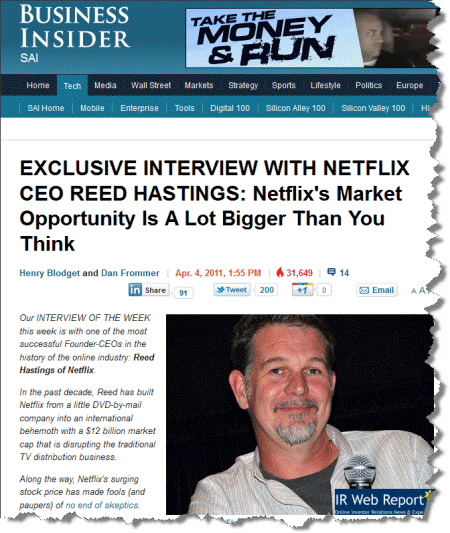 Netflix CEO Reed Hastings interview by Business Insider