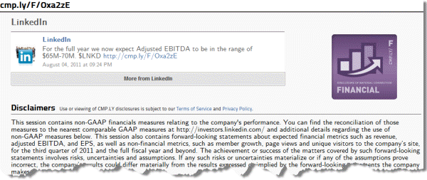 Message by LinkedIn with attached disclaimer
