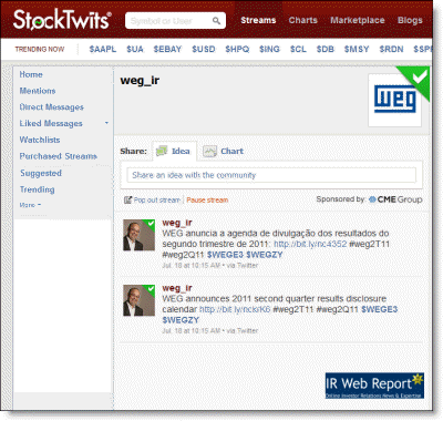 WEG SA StockTwits profile