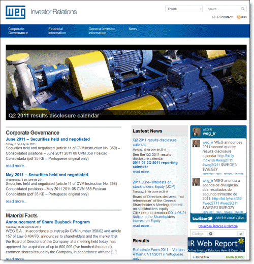 WEG's investor relations website